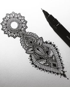 Started this tiny commission today. #murderandrose // #henna inspired detailing with #mandala incorporated.
