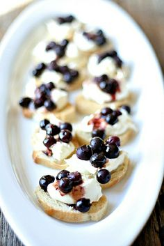 crostini with fresh ricotta and balsamic roasted blueberries