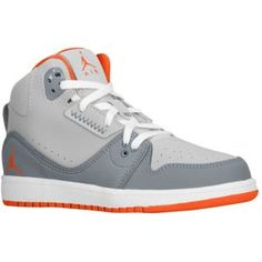 Jordan 1 Flight 2 - Boys' Preschool - Cool Grey/Team Orange