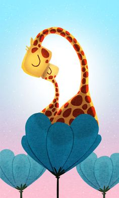 Giraffes Art Print Kids Art Cute Giraffes Nursery wall by nidhi, $35.00