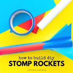 DIY Stomp Rockets are a really fun STEM project for kids and the whole family. Build, stomp, and fly and learn what makes real rockets fly. Perfect for school or scouts, too! Stem Projects For Kids, Stem For Kids, Science Projects, Stomp Rocket, Paper Rockets, Brain Craft, Kid Experiments, Stem Science