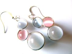 Pale Pink White and Light Grey Cat's Eye by CarrieEastwood on Etsy, $14.00