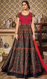 Black and Pink Color Shaded Silk Long Anarkali Dress #anarkalifloorlengthsuits #anarkalipants Captivate your gazers in a gale of teasing merriment clad in this black and pink color shaded silk long Anarkali dress. This desirable attire is displaying some great embroidery done with resham and lace work.  USD $ 117 (Around £ 81 & Euro 89)