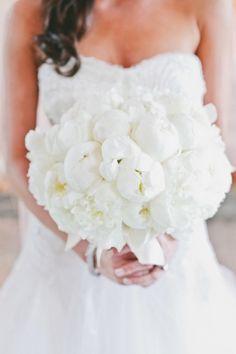 Creamy White Peony Bouquet by RentedElegance.com -  Wedding on #smp here: http://www.StyleMePretty.com/northwest-weddings/2014/04/25/elegant-black-tie-seattle-golf-club-wedding/ - Photography: onelove photography - onelove-photo.com