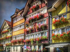 Row of Appenzell Houses with flower decors in Urnaesch AR Switzerland. -  Photo by Hanny Heim, Snowbird Photography #switzerland #appenzell #ausserhoden #architecture #architektur #urnäsch #ostschweiz #schweiz