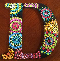 "12"" letter Dot mandala painting Painting Canvas Crafts, Dot Art Painting, Pebble Painting, Painting Patterns, Mosaic Patterns, Stone Painting, Dot Letters, Painted Letters, Painted Canvas"
