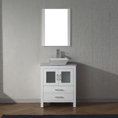 Virtu USA Dior White Marble Single Bathroom Vanity Set with Faucet Options (White/Brown - polished chrome finish/White Finish), Size Single Vanities Bathroom Vanity Base, Best Bathroom Vanities, Vanity Set With Mirror, Single Bathroom Vanity, Vanity Sink, Modern Bathroom, Single Vanities, Bathroom Ideas, Small Bathrooms