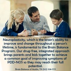 #Neuroplasticity, which is the #brain's ability to improve and change throughout a person's lifetime, is #fundamental to the #BrainBalanceProgram. Our #integrated #approach brings #parents and #kids together to #achieve a common #goal of improving symptoms of #PDDNOS so they may reach their #fullpotential. #Austin #ATX #CedarPark #Texas #TX #addressthecause #brainbalance #afterschoolprogram
