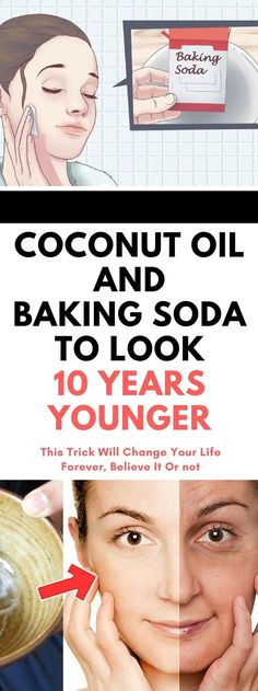 Coconut Oil Uses - This Is How To Use Coconut Oil And Baking Soda To Look 10 Years Younger. 9 Reasons to Use Coconut Oil Daily Coconut Oil Will Set You Free — and Improve Your Health!Coconut Oil Fuels Your Metabolism! Baking Soda Coconut Oil, Baking Soda Face, Coconut Oil For Acne, Natural Coconut Oil, Coconut Oil Hair Mask, Baking Soda Shampoo, Coconut Water, Coconut Oil Beauty, Natural Facial Cleanser