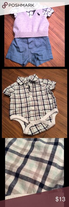 NB boys Cherokee 3 piece outfit EUC NB boys dress casual outfit. Only worn once. Adorable plaid, button down, collared onesie. gray knit vest. And sage shorts. Cherokee Matching Sets