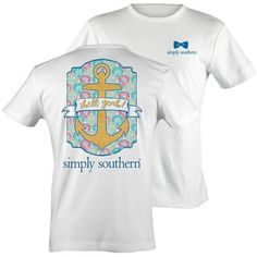 """If you love the ocean, beach, warm weather, and sailing, let's hear a loud """"Shell Yeah!"""" This tee features a glitter laden anchor set against some colorful scalloped shells. - FRONT DESIGN: Simply Sou"""