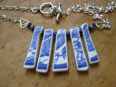tumbled blue and white china Choker necklace with by Fun2designs