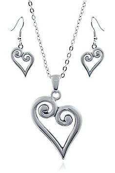 3-D Belt Company Silver Heart Jewelry Set