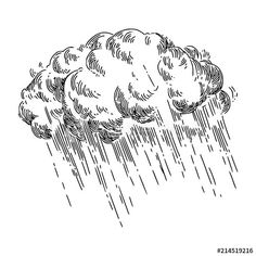 Storm cloud and rain. Cloud Illustration, Engraving Illustration, Ink Illustrations, Rain Tattoo, Storm Tattoo, Rain Cloud Tattoos, Drawing Sketches, Art Drawings, Cloud Drawing