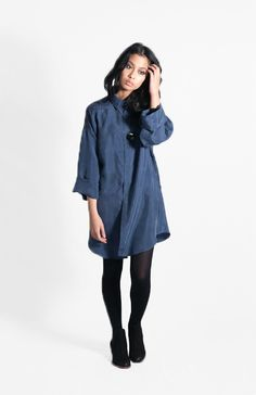 Pappa's Shirt Dress Coal  FEATURES   • Tran-seasonal must have   • Designed and made in Melbourne   • Screen printed by hand using techniques that enhance the irregularity and personality of each print   • Made from high-quality viscose