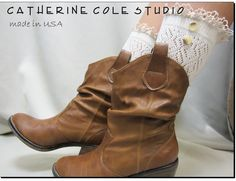 Prairie Girl wash day lace socks for lace up combat boots country 3 colors  great  cowboy boots victorian boots Catherine Cole made in usa. $16.95, via Etsy.