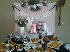 Buffet table for paris themed party