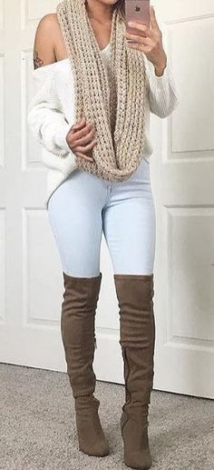 #fall #outfits women's blue fitted pants and pair of brown suede pump thigh-high boots #pumpsoutfit #kneehighbootsoutfit