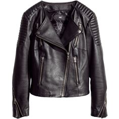 H&M Leather biker jacket (125 BRL) ❤ liked on Polyvore featuring outerwear, jackets, h&m, leather jacket, coats & jackets, black, zipper jacket, fleece-lined jackets, quilted biker jacket and biker jackets