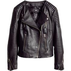 H&M Leather biker jacket (125 BRL) ❤ liked on Polyvore featuring outerwear, jackets, h&m, leather jacket, coats & jackets, black, zipper jacket, fleece-lined jackets, quilted biker jacket and biker jackets