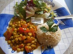 Fotorecept: Cícerové karí Chana Masala, Quinoa, Vegetarian, Chicken, Meat, Ethnic Recipes, Food, Indie, Dental Caries