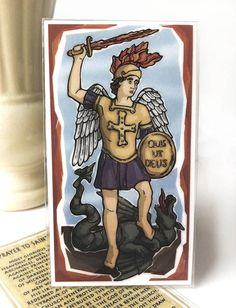 St. Michael Prayer Card by ModHMary on Etsy