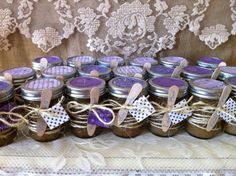 20 Sugar and Spice Homemade Body Scrubs in 8 oz. Glass Mason Jars tied with Burlap, Lace, or Twine. Rustic Chic Body Shop via Etsy. Coffee Bridal Shower, Wedding Shower Favors, Spa Bachelorette Parties, Baby Girl Sprinkle, Burlap Mason Jars, Sprinkle Shower, Baby Favors, Pots, Rustic Wedding Centerpieces