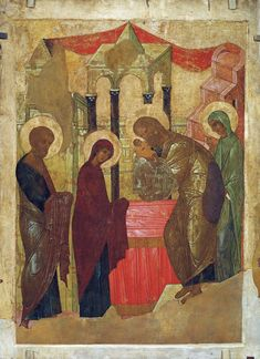 Presentation of Jesus at the Temple, 1408 Andrei Rublev - by style - Byzantine Religious Images, Religious Icons, Religious Art, Catholic Art, Byzantine Icons, Byzantine Art, Russian Icons, Russian Art, Andrei Rublev