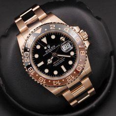 Rolex GMT Master II in 18kt Everose gold.