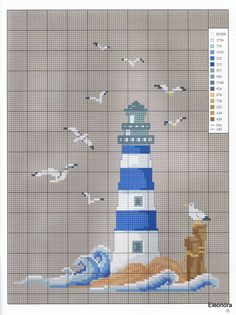 Cross-stitch Lighthouse & Seagulls