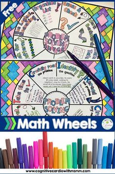 Free problem solving math wheels - use them to add to your problem solving instruction or as a center activity. Problem Solving Activities, Math Activities, Math Worksheets, Teaching Resources, Math Tutor, Teaching Math, Maths, Primary Teaching, Math Classroom
