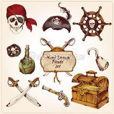 Pirates colored icons set — Stock Illustration #47035915