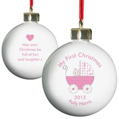 Personalised Pink Pram Bauble  from Personalised Gifts Shop - ONLY £10.99
