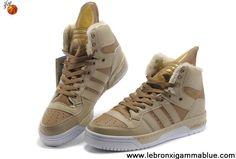 Star's favorite Adidas Original X Jeremy Scott Big Tongue Velvet Shoes Khaki For Sale