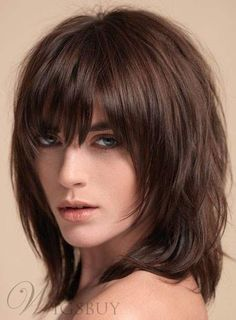 Bob Frisuren 2019 - Layered Shag Hairstyle with Full Fringe Middle Length Synthetic Capless Women Wi. Cute Medium Length Hairstyles, Medium Length Hair With Layers, Medium Layered Haircuts, Medium Hair Styles, Curly Hair Styles, Medium Curly, Hair Medium, Curly Hair With Bangs, Haircuts With Bangs