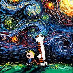 Calvin and Hobbes Art - Fine Art Print - Giclee - What If van Gogh Had An Imaginary Friend? - Art by Aja 8x8, 10x10, 12x12, 20x20, 24x24 inch print sizes