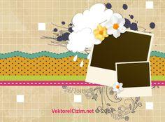 Vektörel Çizim   Polaroid, Puantiye, Çiçek