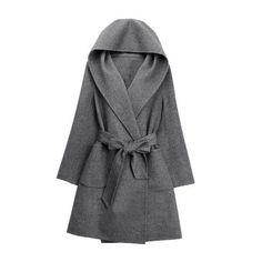 Grey Hooded Pockets Belt Long Coat ($70) via Polyvore featuring outerwear, coats, longline coat and long coat