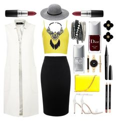"""""""Yellow as the sun and black as misery ..."""" by girlofmilan ❤ liked on Polyvore featuring Topshop, Alexander McQueen, Zara, Yves Saint Laurent, Karen Millen, Christian Dior, Style & Co., Ashley Stewart, H&M and MAC Cosmetics"""