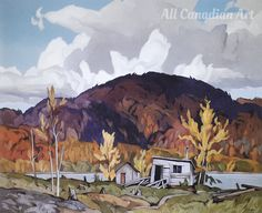 """Casson - was a member of the world famous """"Group of Seven"""" Canadian artists. Sheet size is 11 x Image size is x Company logo is only a watermark on the photo, it does not appear on the actual lithograph. Group Of Seven Paintings, Ottawa River, Beautiful Color Combinations, Canadian Artists, Painters, Favorite Color, Art Work, Anatomy, Color Schemes"""