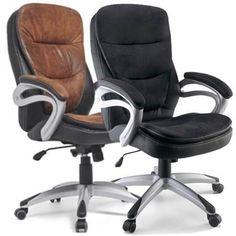 Cadeira Presidente Couro P.u Com Sistema Relax Preta Marrom - R$ 699,00