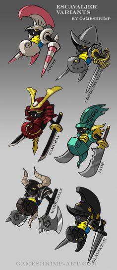 Some Escavalier variants. Really wanted to participate in the Pokemon species meme - it's such a cool idea!