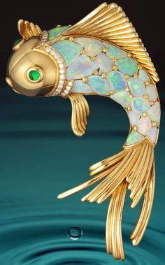 Opal Fish Brooch by Oscar Heyman & Brothers #Fashion