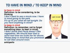 Expressions 'Have in mind' & 'Keep in mind' #learnenglish