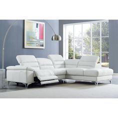 Nevio 6 Pc Leather Sectional Sofa With Chaise 3 Power