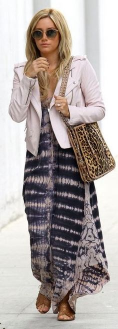 Who made  Ashley Tisdale's leopard handbag, brown flat sandals, and pink tie dye print maxi dress