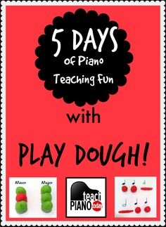 5 different games you can play with your piano students using play dough to make theory fun! These ideas are brilliant and perfect for weekly pick me ups in teaching. It is very easy for kids to manipulate playdoh, and is very helpful visually. If your  students are having a hard time understand or focusing during music theory 'talk', try these out!    Teach Piano Today