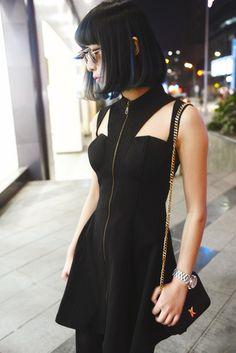 dress fashion outfit clothes black black dress zip zipper tumblr grunge found on tumblr goths street street goth