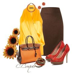 """""""Sunflower Contest"""" by ccroquer ❤ liked on Polyvore featuring Pier 1 Imports, Lauren Ralph Lauren, Plein Sud, Enzo Angiolini, Hermès, Tory Burch and Wing Paris"""