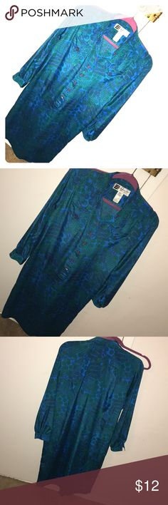 Vintage style paisley print shirt dress Nice turquoise blue and green color Never goes out of style Dresses Long Sleeve